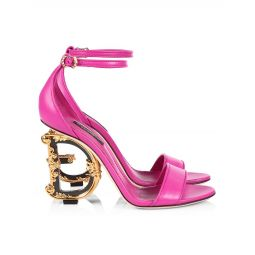 Sculpted-Heel Leather Sandals