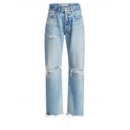 Odessa Distressed Wide Straight-Leg Jeans