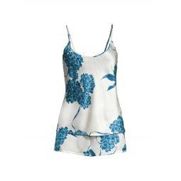 2-Piece Hydrangea Short Silk Pajama Set
