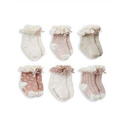 Baby Girls Elegant Baby 6-Pack Frill Socks