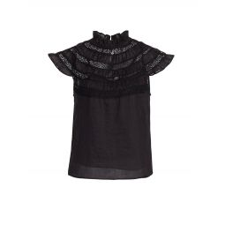 Lace Inset Short Sleeve Top