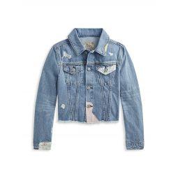 Little Girls & Girls Distressed Denim Jacket