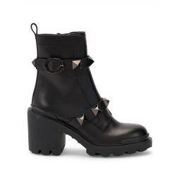 Roman Stud Leather Booties
