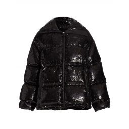 Sequin Down-Filled Puffer Coat