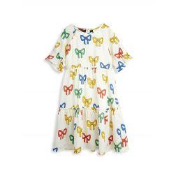 Little Girls & Girls Tiered Bow-Print Dress