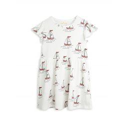 Little Girls & Girls Boat-Print Flutter-Sleeve Dress