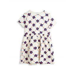 Little Girls & Girls Organic Cotton Flower Check Dress