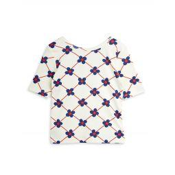 Little Girls & Girls Organic Cotton Flower Check Ballot Top