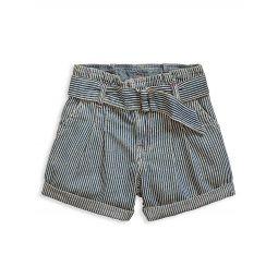 Little Girls & Girls Paperbag Waist Denim Shorts
