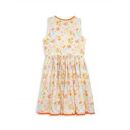 Little Girls & Girls Floral Loop Trim V-Back Dress