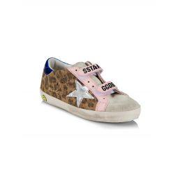 Babys, Little Girls & Girls Old School Leopard Suede Sneakers