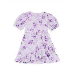 Little Girls & Girls Floral Puff-Sleeve Dress