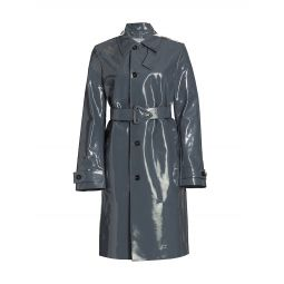 High Shine Leather Coat