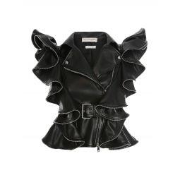 Leather Ruffle Sleeveless Jacket