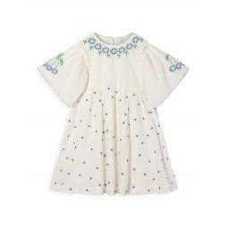 Little Girls & Girls Tiny Flowers Embroidered Gauze Dress
