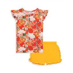 Little Girls & Girls 2-Piece Paulina Henley T-Shirt & Varsity Shorts