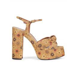 Bianca Knotted Floral Leather Platform Sandals