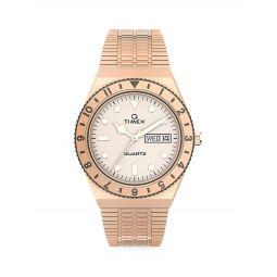 Q Timex Rose Goldtone Stainless Steel Bracelet Watch