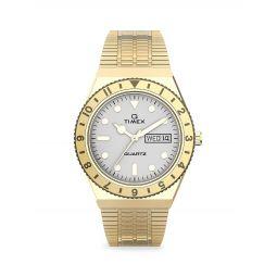 Q Timex Goldtone Stainless Steel Bracelet Watch