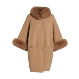 Fox Fur Trim Cashmere Kimono Coat