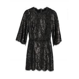Metallic Lace Scalloped-Trim Dress