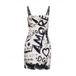 Fitted Charmeuse Graffiti Dress