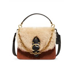 Beat Mixed Leather & Shearling Shoulder Bag