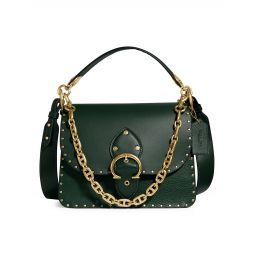 Rivets Mixed Leather Beat Shoulder Bag