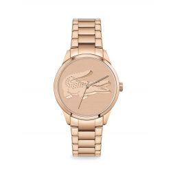 Ladycroc Carnation Gold Plated Stainless Steel Bracelet Watch