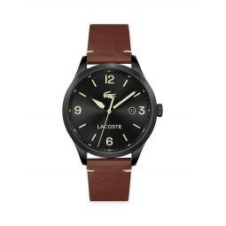 Traveler Stainless Steel Leather Strap Watch