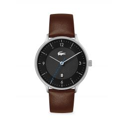 Club Stainless Steel Leather Strap Watch