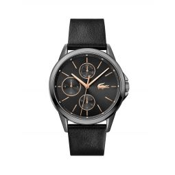 Florence Crystal Chronograph Leather Strap Watch