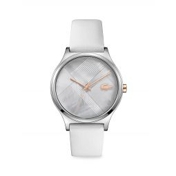 Nikita Stainless Steel & Mother of Pearl Leather Strap Watch