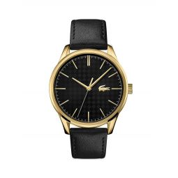 Vienna Stainless Steel Leather Strap Watch