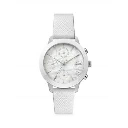 12.12 Stainless Steel & Mother-of-Pearl Chronograph Leather Strap Watch