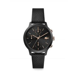 12.12 Stainless Steel Chronograph Leather Strap Watch