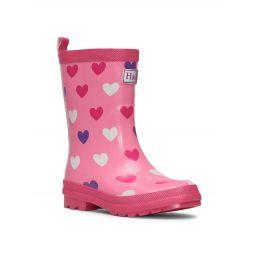 Little Girls & Girls Scattered Hearts Shiny Rain Boots