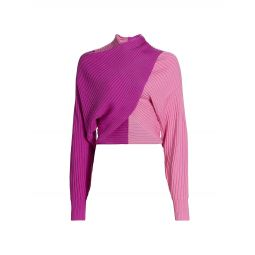 Wool Colorblocked Twist-Front Sweater