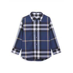 Little Boys & Boys Check Stretch-Cotton Shirt