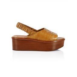 Ines Leather Flatform Slingback Sandals