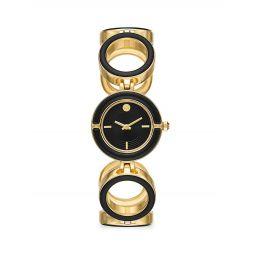 Sawyer Two-Tone Goldtone & Black Enamel Watch