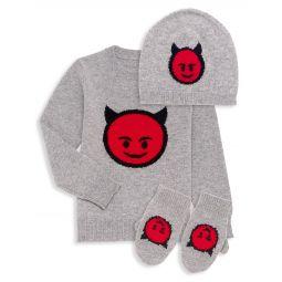 Little Boys 3-Piece Smiling Devil Sweater, Hat & Mittens Set
