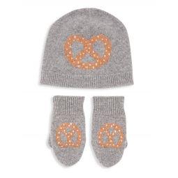 Little Kids 2-Piece Pretzel Cashmere Hat & Mitten Set