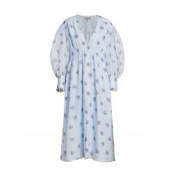 Smocked Floral Midi-Dress