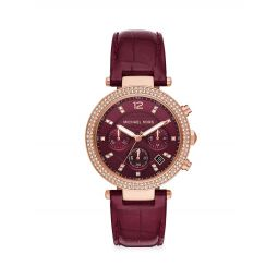 Parker Chronograph Red Leather Watch