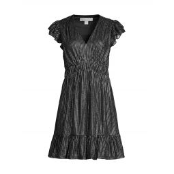 Metallic Mesh Ruched Mini Dress