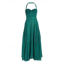 Ruched Halter Belted Dress