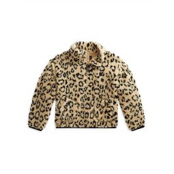 Little Girls & Girls Leopard-Print Faux-Shearling Quarter-Zip Pullover