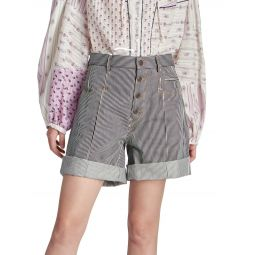 Nadia Striped Denim Shorts
