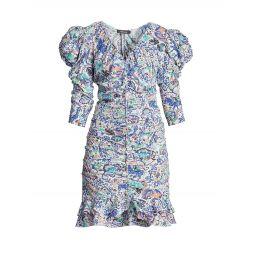 Bireya Ruched Paisley Mini Dress